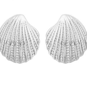 Silver Sea Shell Platinum Stud Earrings
